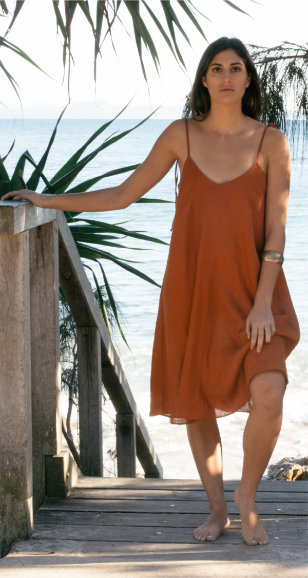 Slow fashion Australia, Linen dress Byron Bay, Linen fashion, Ethical Brands Australian, Sustainable Fashion Australia, Linen Clothing Australia